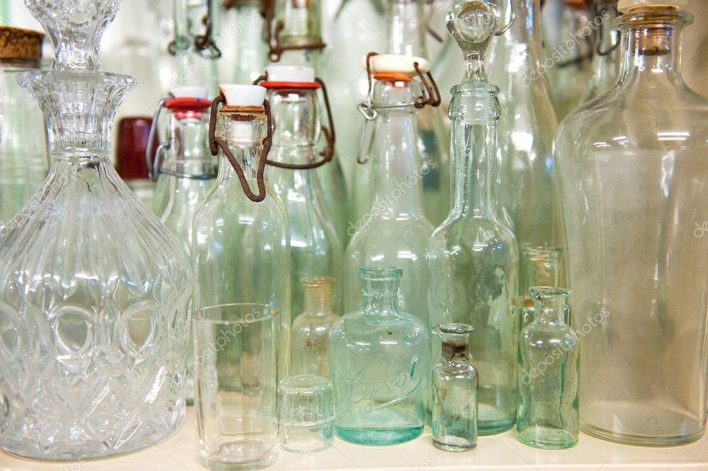 Old Glass Bottles Part - 31: Old Antique Glass Bottles U2014 Stock Photo
