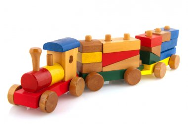 Wooden toy train with colorful blocs isolated over white stock vector