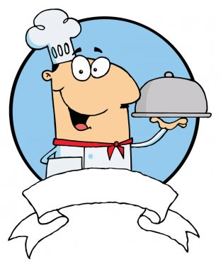 Cartoon Male Chef Serving Food In A Sliver Platter