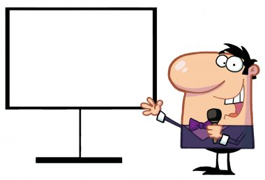 Talk Show Host Beside A Blank Board
