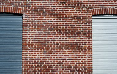Blue, red and white brick wall