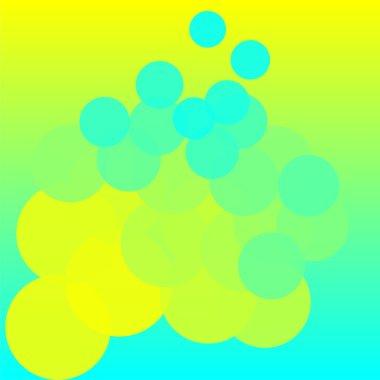 Blue, green and yellow transparent circles, vector
