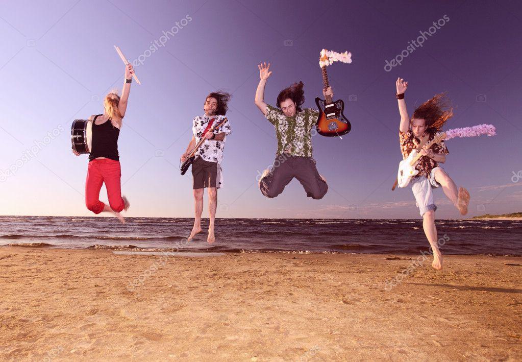 Musicians on seacoast