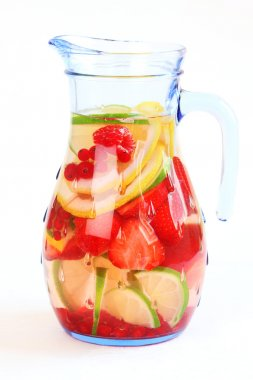 Refreshing summer ice tea or lemonade with fresh fruits stock vector