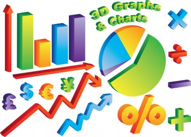 3D Charts and Graphs with math and currency symbols clip art vector