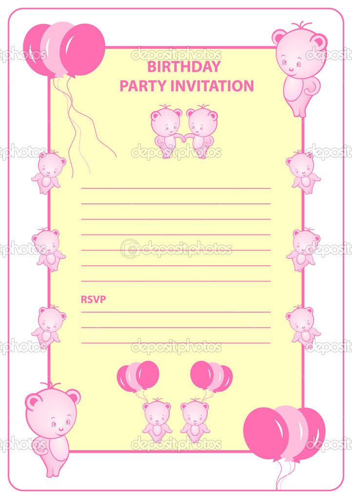 childs birthday party invitation card stock vector toots77 3028641
