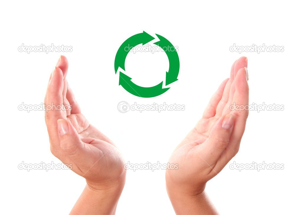 Recycling symbol between two human hands