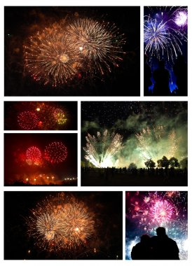 Collage of exploding fireworks.