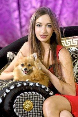 Pretty girl with doggie