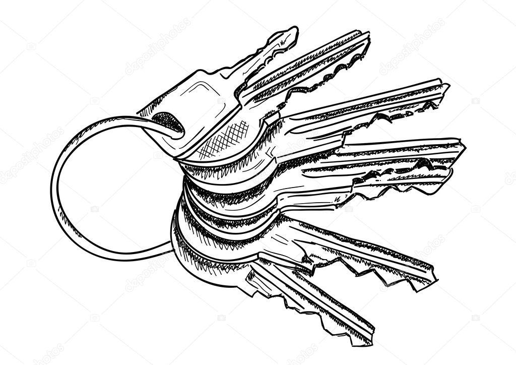 Line Art Key : Keys — stock vector vlastas