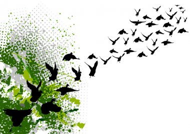 Flying black silhouettes of birds clip art vector