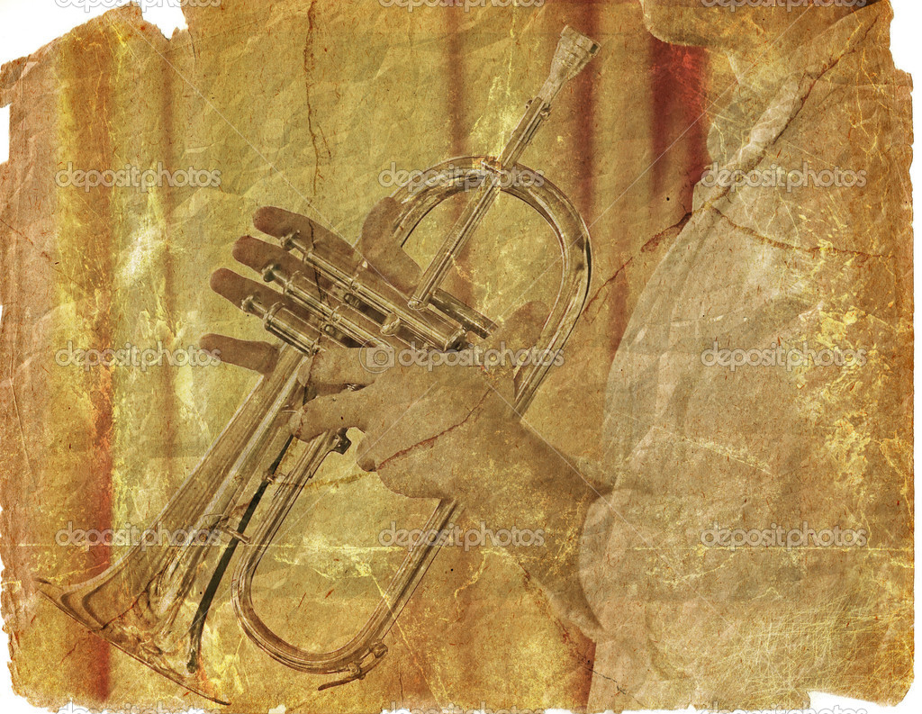 Trumpeter on the scrap of paper
