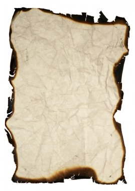 Isolated grunge paper with burned edges