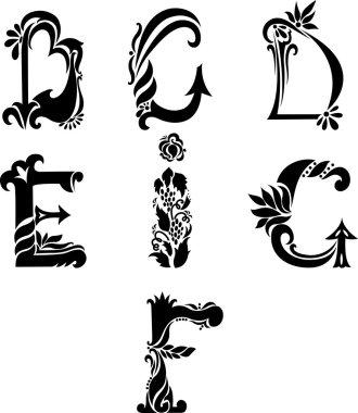 Antique curl letters