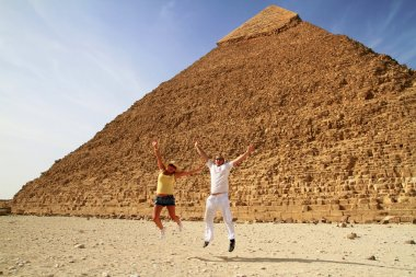 Hapiness at pyramids in Egypt