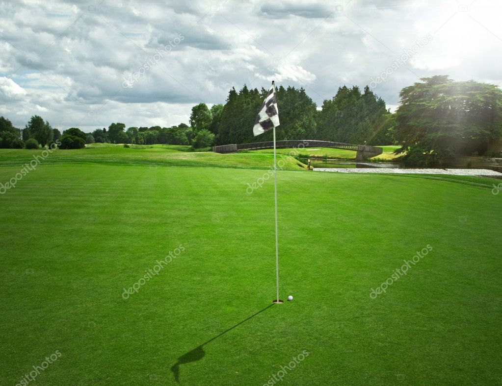 Idyllic golf field view
