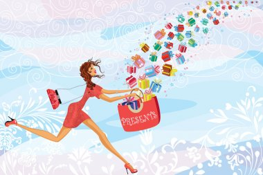 Girl catches gifts falling from the sky clip art vector