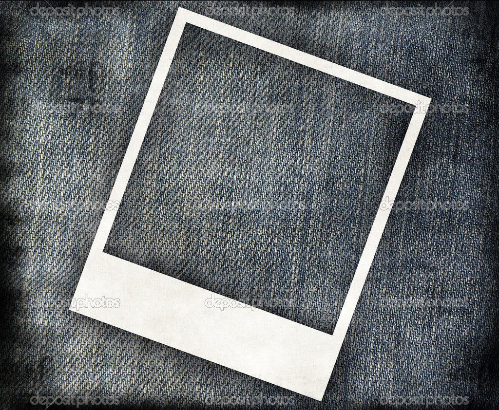 grungy jeans background with instant frame stock photo 3881554