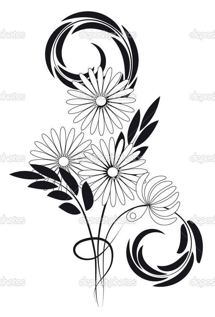 Bouquet. Black and white.