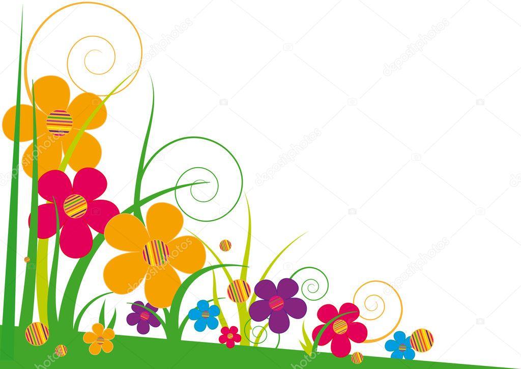 Fleurs Stylisées fleurs stylisées aux couleurs vives — image vectorielle minyanna
