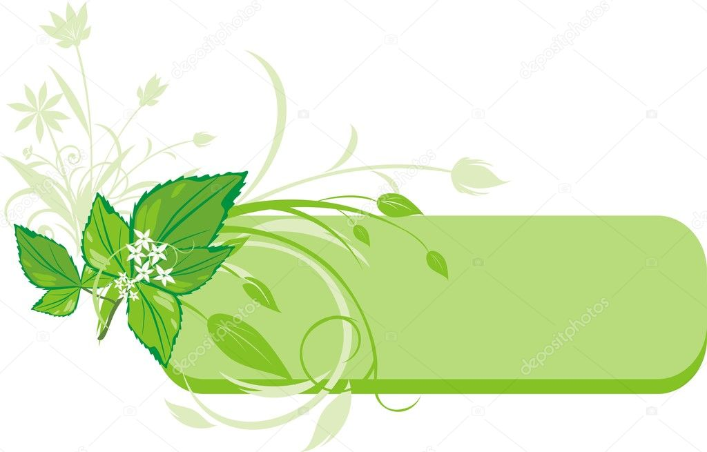 Mint sprig. Decorative banner