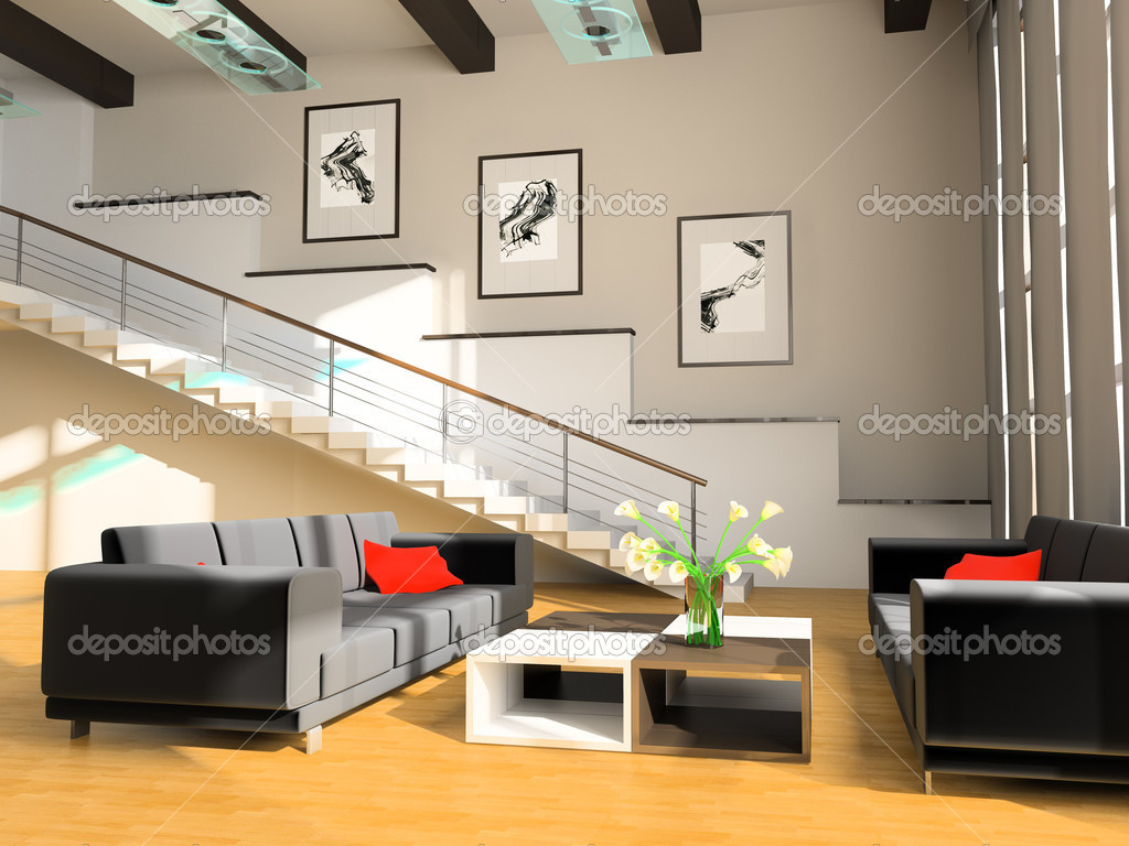 Stair in a drawing room stock photo akaciya 3453763 - Paredes modernas para interiores ...