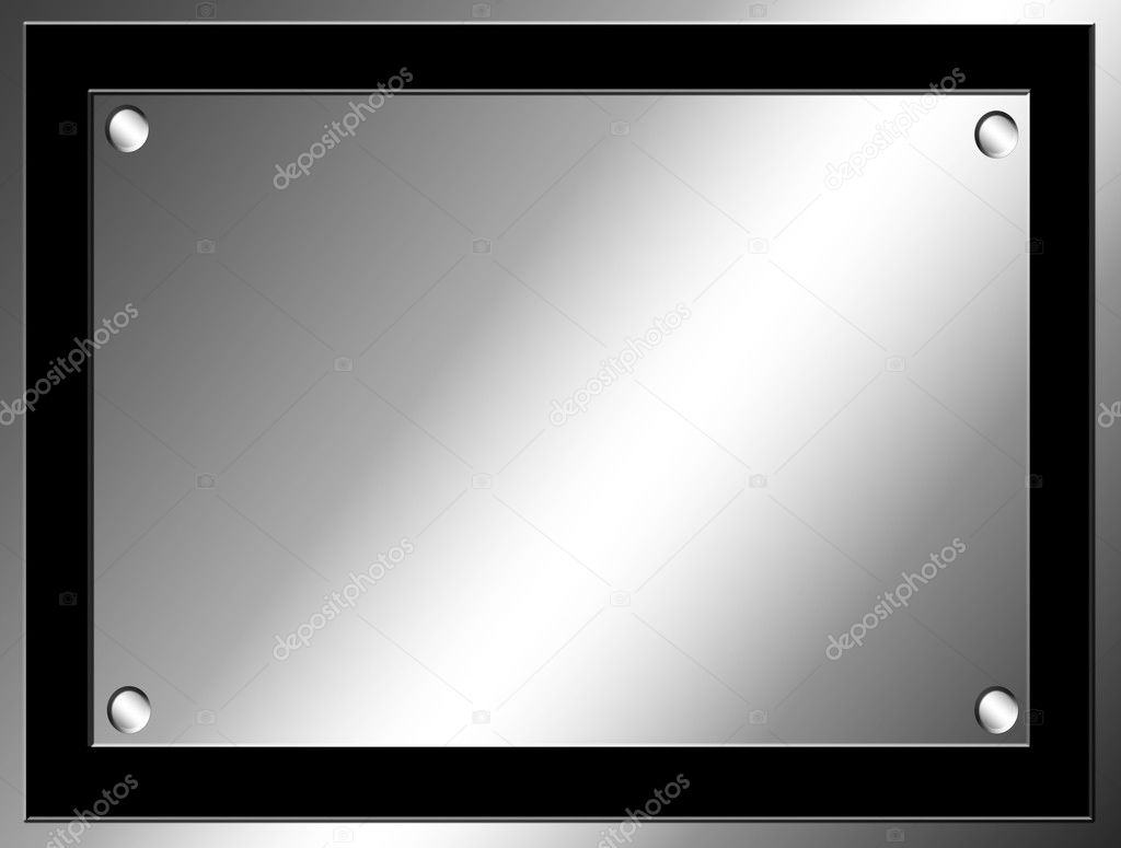 Chrome illustration with black frame. Blank design