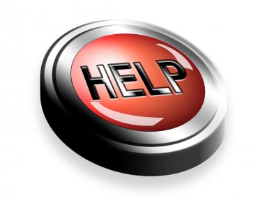 Help button on chrome frame over white background stock vector