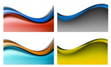Four abstract waves background over white background. High resolution stock vector