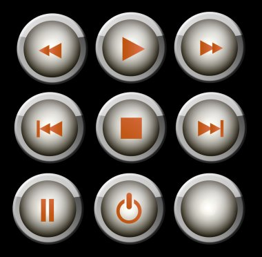 A set of glossy gray and orange web icons for use on music and video player stock vector