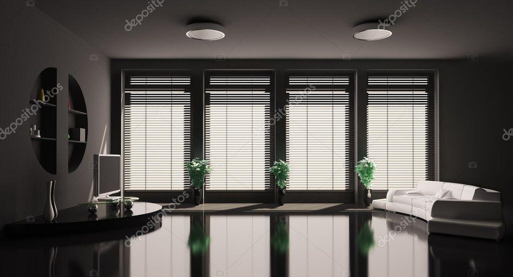 Zwarte woonkamer interieur 3d — Stockfoto © scovad #2885905