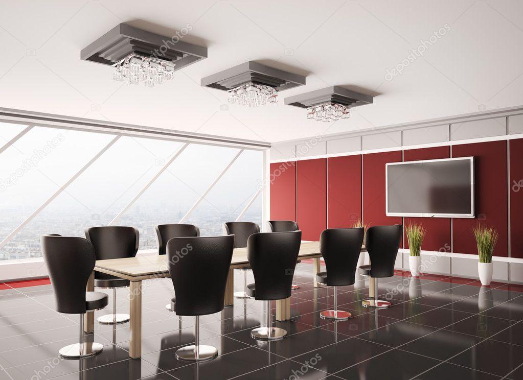 Sala riunioni moderna con lcd 3d interni foto stock for 3d interni
