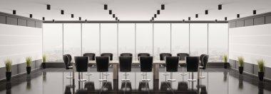Modern boardroom panorama 3d render