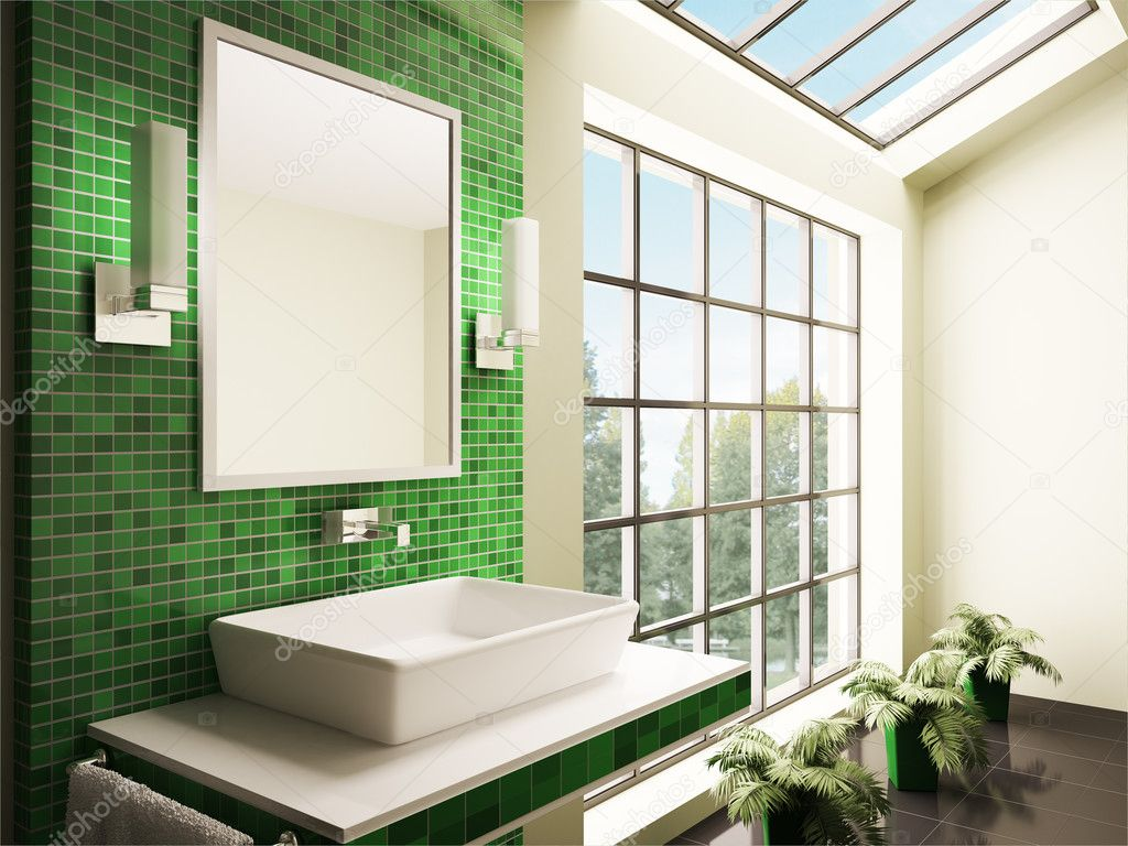 salle de bain avec grande fenêtre intérieur 3d — Photographie scovad ...
