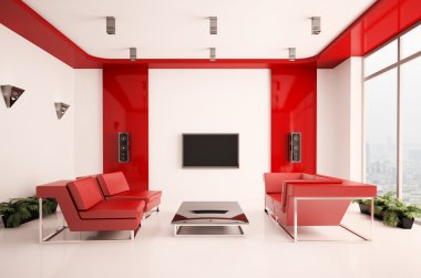 Living room interior 3d