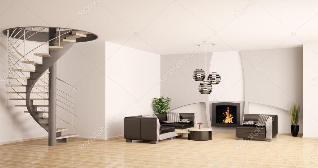 moderne wohnzimmer interieur mit kamin und treppe 3d stockfoto