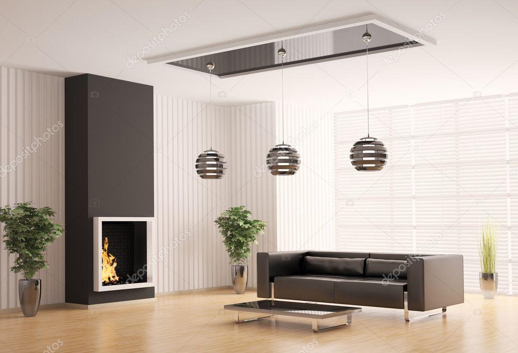 Wohnzimmer mit Kamin interior 3d — Stockfoto © scovad #3636660