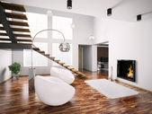 moderní interiér s krbem a schodiště 3d