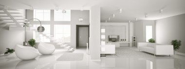White apartment interior panorama 3d