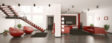 Modern apartment interior panorama 3d