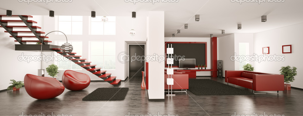 Modern apartment interior panorama 3d