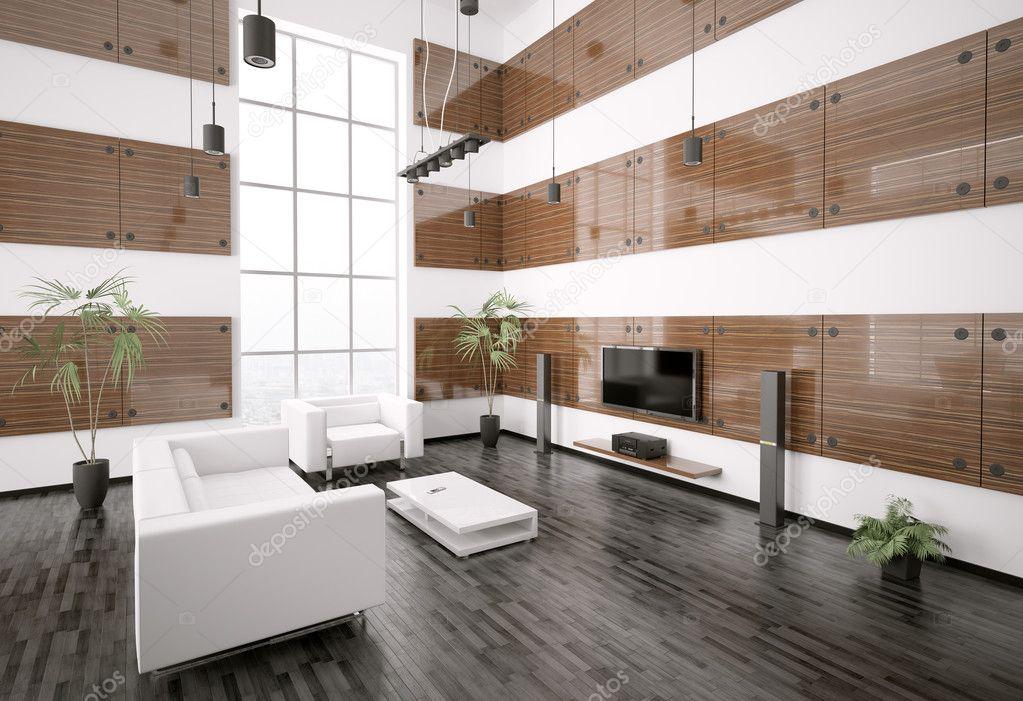 Rendering 3d interni del soggiorno moderno foto stock for 3d interni