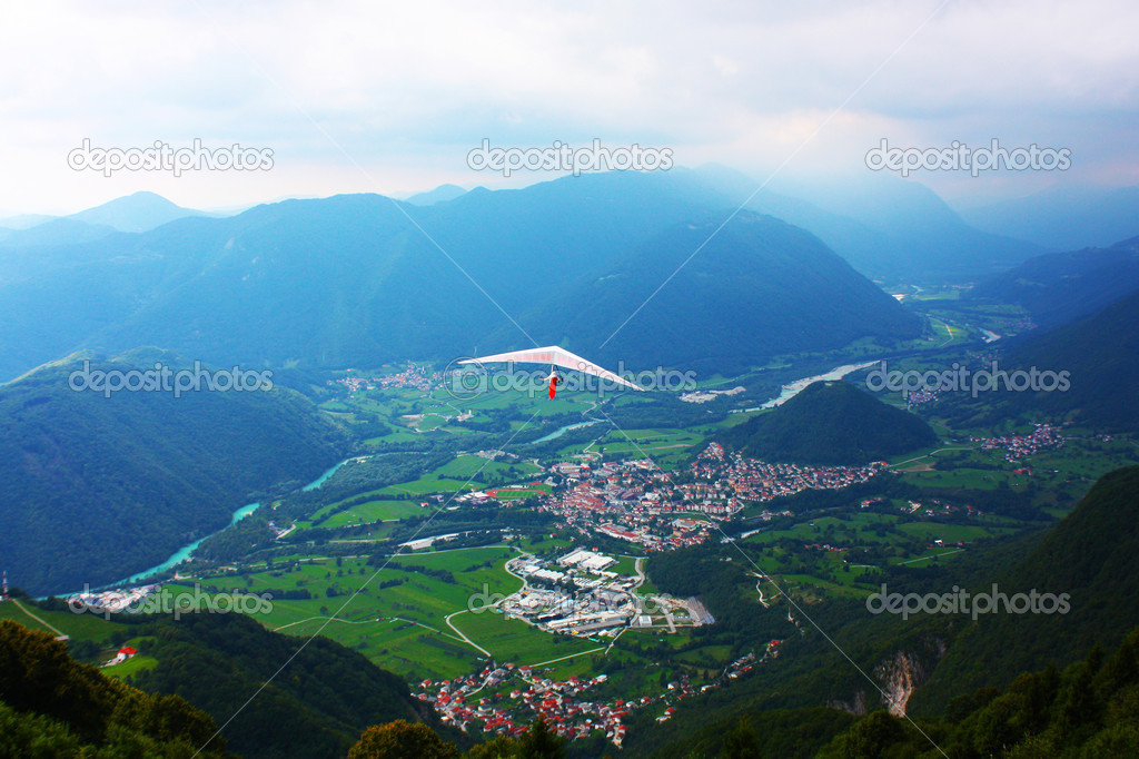 Hang glider flying in the Alps