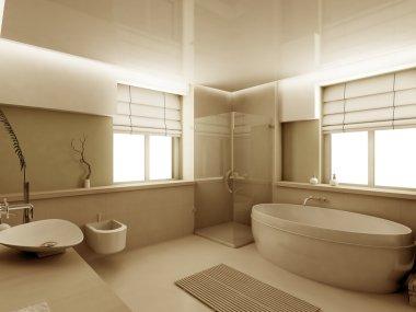 3D render interior of bathroom