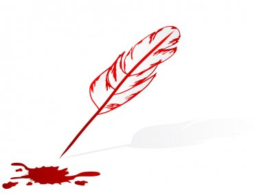 Feather pen and blood stain
