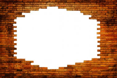 Brick wall with white hole