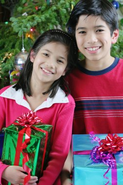 Brother and sister with gifts