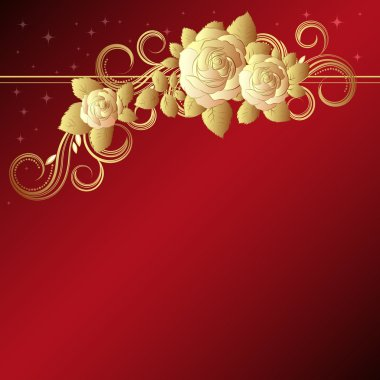 Red background with golden roses