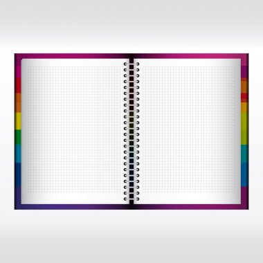 Vector spiral lined notebook isolated.
