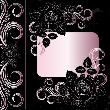 Vector black and pale pink flowers